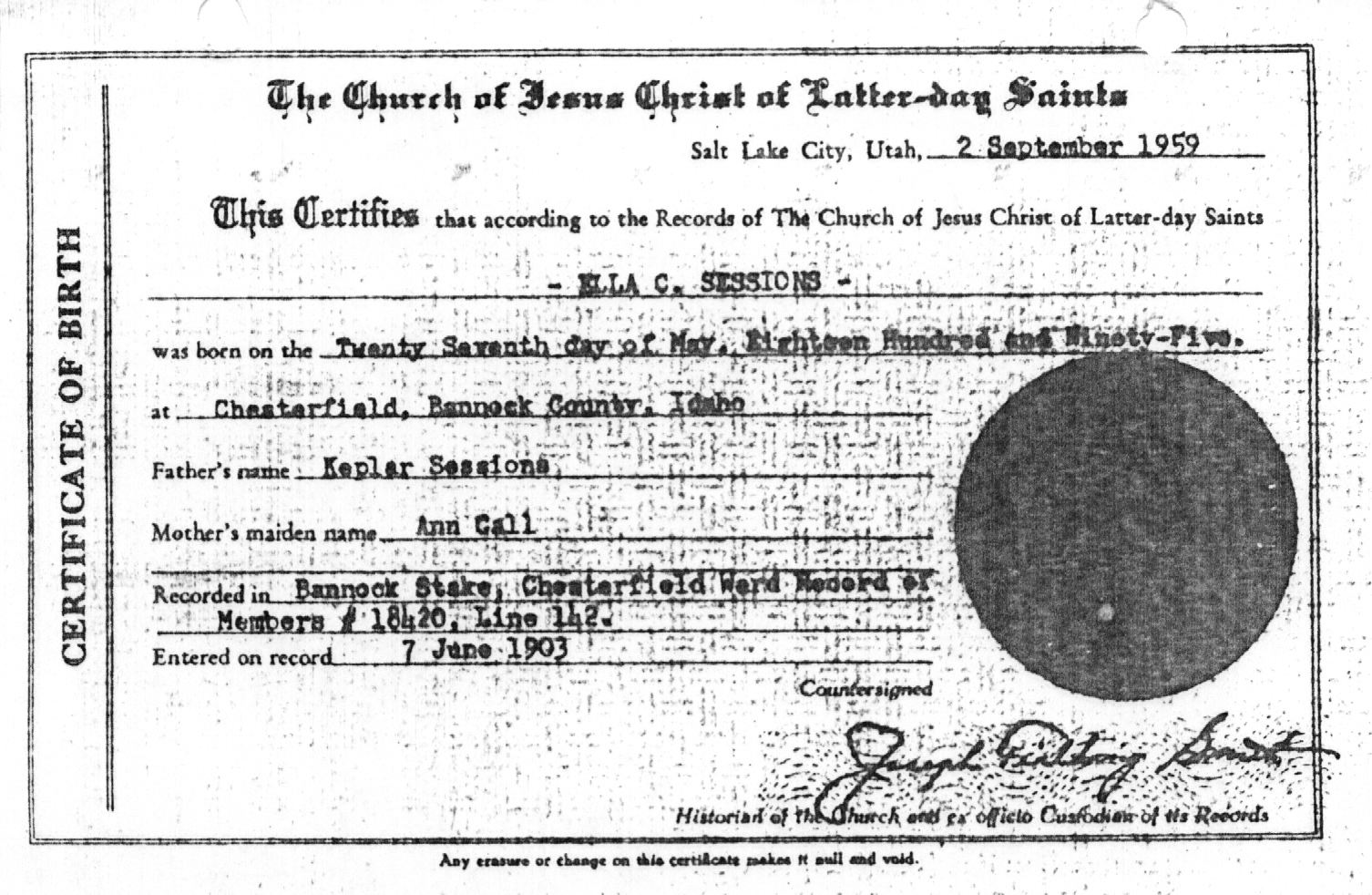 Sedgwick researchs site for the thomas tolman family ella tolmans birth certificate xflitez Image collections